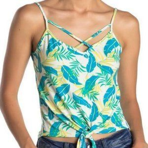 Poof blue green floral tropical tie front tank